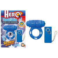Hero Remote Control Wireless Cock Ring - Blue