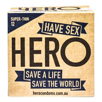 Hero Condoms Super-Thin 12 Pack - 6 Boxes