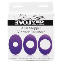 Anal Stopper Vibrator Enhancer - 3-Pack, Purple