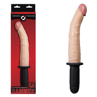 Rammer 9.5'' Vibrating Dong with Handle - Flesh