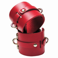 KinkLab Bondage Basics Leather Wrist Cuffs - Red